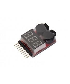 تستر ولتاژ باتری های Lipo/Life/Li-ion با آلارم افت ولتاژ